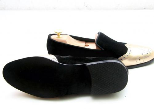 black suede loafers with gold cap toe