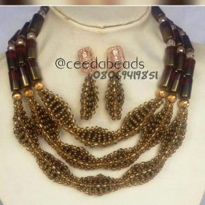 Gold and brown beaded necklace
