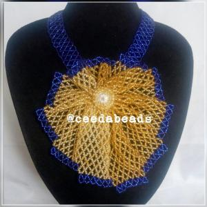 Gold and Blue beaded necklace piece